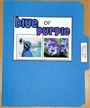 """Sorting Activity: """"Blue or Purple Sort File Folder Game"""""""
