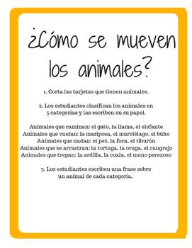 Sorting Activity: ¿Cómo se mueven los animales?