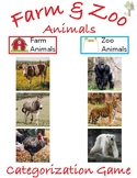 Sorting Activity: Farm and Zoo Animals with Real Pictures