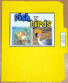 "Sorting Activity: ""Fish or Birds Sort File Folder Game"""