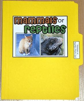 """Sorting Activity: """"Mammals or Reptiles Sort File Folder Game"""""""