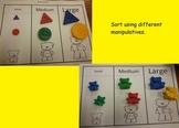 Sorting Activity Math Center Mats (5 sets) Eng & Spanish