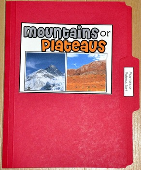 "Sorting Activity: ""Mountains or Plateaus Land Forms Sort File Folder Game"""