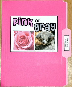 "Sorting Activity: ""Pink or Gray Sort File Folder Game"""