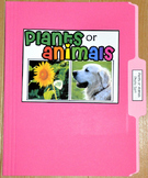 "Sorting Activity: ""Plants or Animals Sort File Folder Game"""