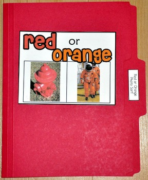 "Sorting Activity: ""Red or Orange Sort File Folder Game"""