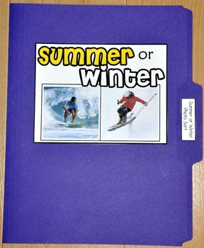 "Sorting Activity: ""Summer or Winter Sort File Folder Game"""