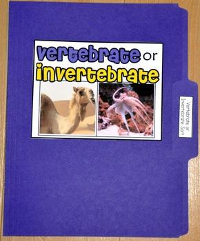 """Sorting Activity: """"Vertebrate or Invertebrate Sort File Folder Game"""""""