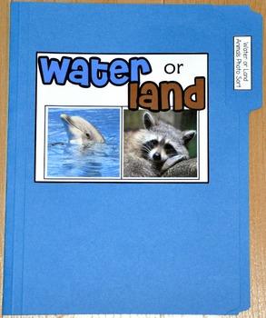 """Sorting Activity: """"Water or Land Animal Sort File Folder Game"""""""