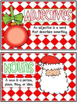 Sorting Adjectives, Nouns, and Verbs ~ Christmas Theme
