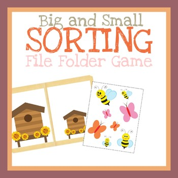 Sorting Big and Small,  File Folder Game, Printable Worksheet, Quiet Book