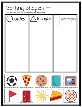Sorting By Real-World Shapes cut and paste activity (Pre-K ...
