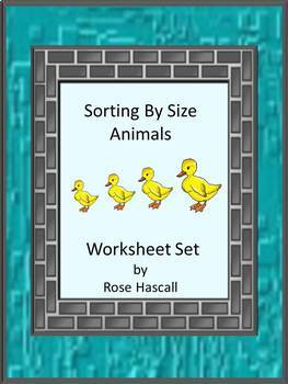 Sorting By Size Cut and Paste Fine Motor Skills Animals Worksheet Set