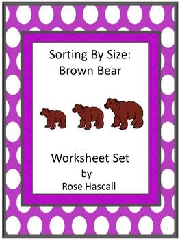 Sorting By Size Brown Bear Cut and Paste Kindergarten Math