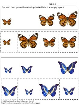 Butterflies,Sorting By Size,Cut and Paste,Fine Motor Skills,Special Education