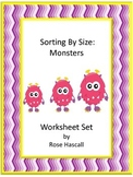Sorting By Size Monster Cut and Paste Kindergarten Math Worksheets Morning Work