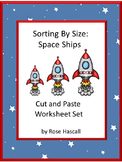Sorting By Size Space Themed Cut and Paste Kindergarten Math Special Education