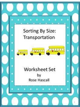 Sort by Size Transportation Cut and Paste Kindergarten Mat