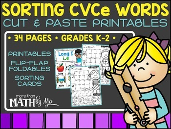 Sorting CVCe Words Cut & Paste Printables