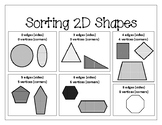 Sorting Categorizing 2D shapes according to sides, edges,