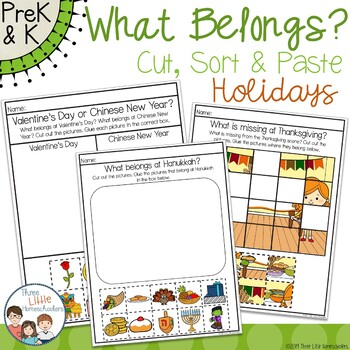 Cut and Paste Holidays Sorting Center Activities - Year Long