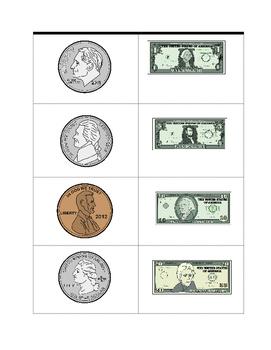 Sorting Coins vs. Bills FREE