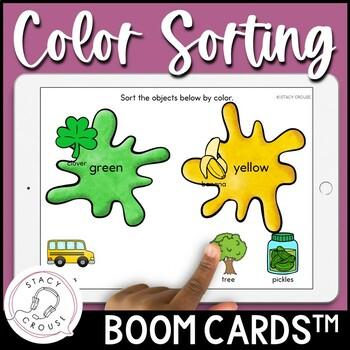 #slpboomforfree Sorting Colors BOOM CARDS™ No Print Basic Concepts
