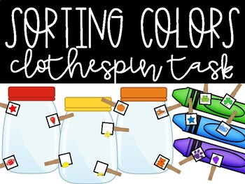 Sorting Colors Clothespin Tasks