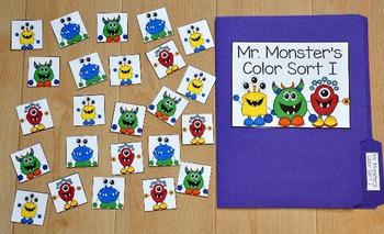 Sorting Colors File Folder Game (Monster Theme I)
