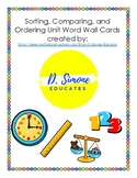 Sorting, Comparing, and Ordering Unit Vocabulary/ Word Wall Cards