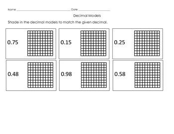 Sorting Decimals and Decimal Models