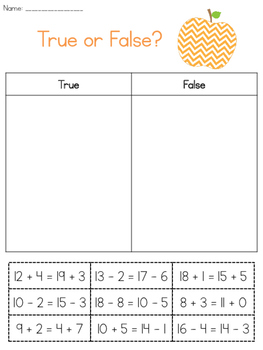 Sorting Equalities Worksheet Set