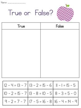 Sorting Equalities Worksheet Set