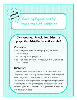 Sorting Equations by Properties of Addition {Comm, Assoc, Ident, & even Distrib}