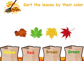 Sorting Fall Leaves by color and size