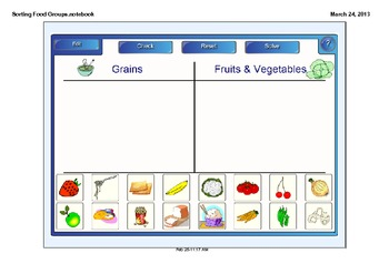 Sorting Food Groups SMARTboard activity