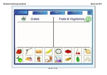 Sorting Food Groups SMARTboard activity