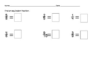 Sorting Fractions and Equivalent Fractions