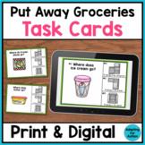 Life Skills Task Cards - Sorting Groceries (Print & Digital Boom Cards)