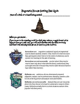 image about Printable Sorting Hat Quiz known as Sorting Hat Quiz Worksheets Training Elements TpT