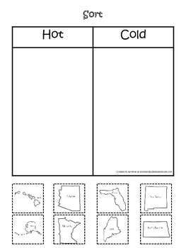 Sorting Hot and Cold States.  Preschool printable educational game.