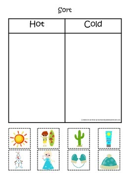 Sorting Hot and Cold items #2.  Preschool printable educational game.