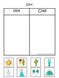 Sorting Hot and Cold items #2.  Preschool printable educat