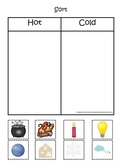 Sorting Hot and Cold items #3.  Preschool printable educational game.
