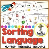 No Prep Sorting Language Activities - No Prep Basic Concepts Speech Therapy
