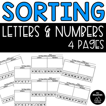 Sorting Letters and Numbers Printable