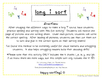 "Sorting Long ""i"" Words: i_e, ie, igh, & y"