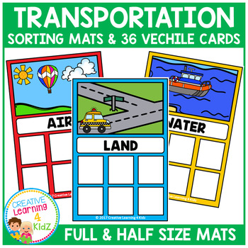 Transportation Sorting Mats + Cards