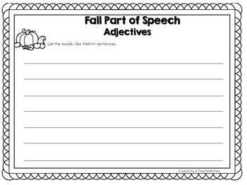 Sorting Mats- Parts of Speech- Fall Edition