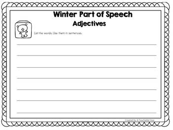 Sorting Mats- Parts of Speech- Winter Edition